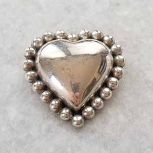 Jewelry - Vintage Taxco Mexico 925 Silver Puffy Heart